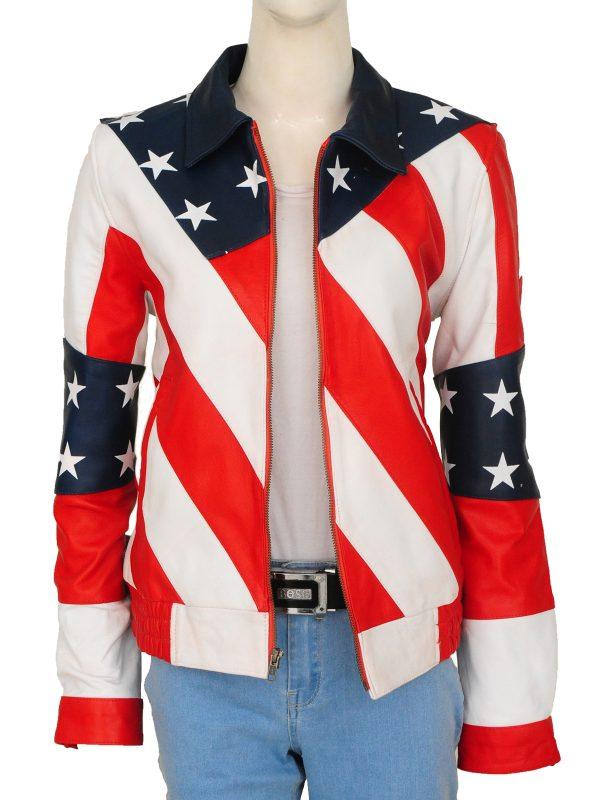 america flag girl leather jacket, girl american flag leather jacket,