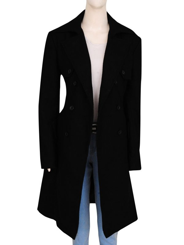 classic black long coat, jet black women coat,