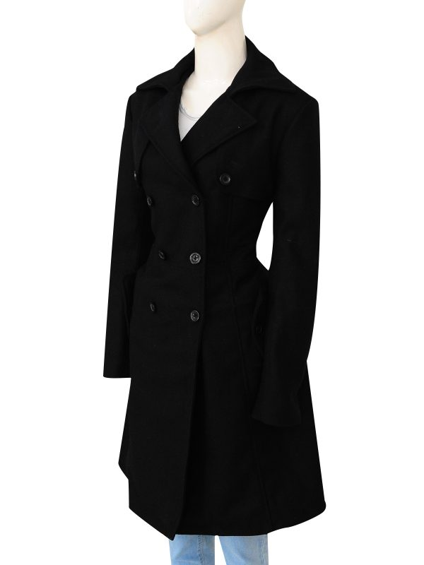 perfect office long coat, black office women coat,