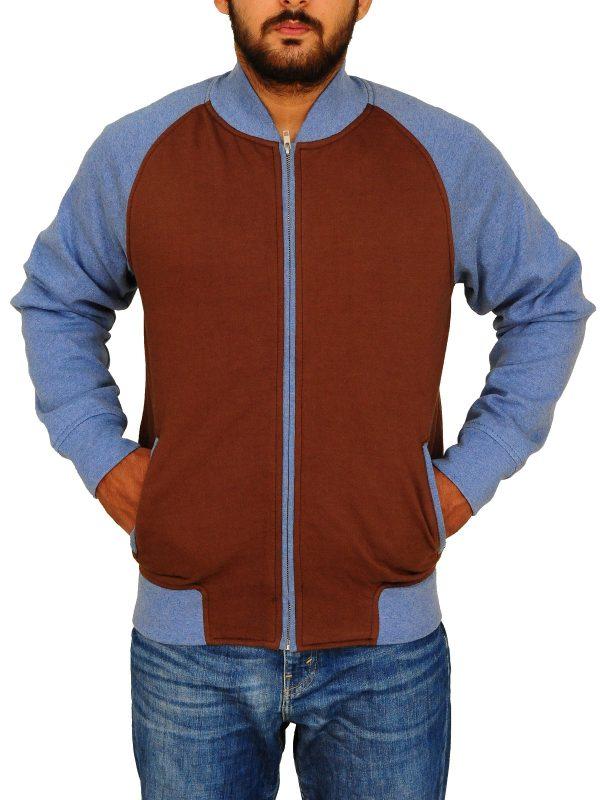 men varsity jacket, cool blue varsity jacket,