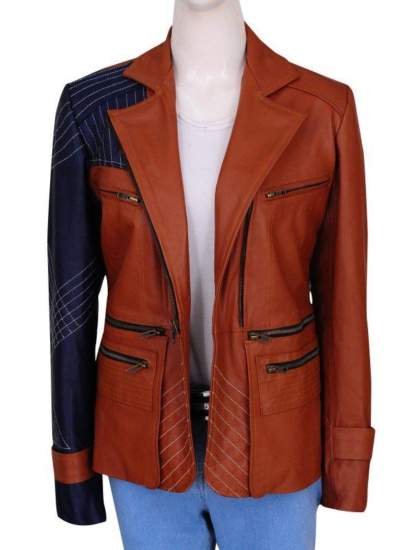 defiance julia benz jacket, brown julia benz jacket,