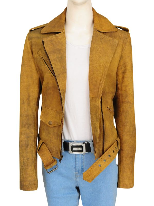 ruff buff brown women jacket, rough leather women jacket,