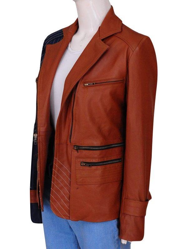 stylish julia benz leather jacket, women brando jacket,
