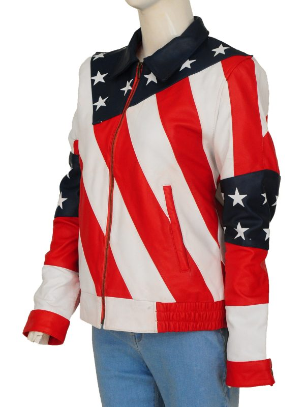 american flag leather jacket for women, USA flag women leather jacket,