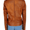 brando brown leather jacket, stylish girl leather jacket,