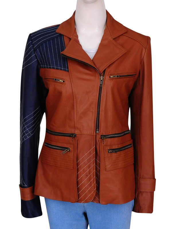 brown brando leather jacket for women, women brown leather jacket,