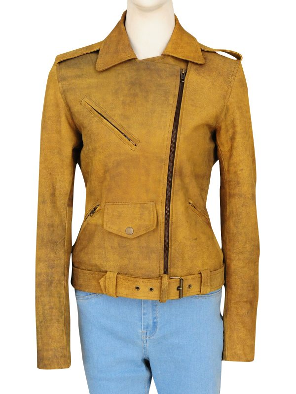 slim fit brown leather jacket, girl brown leather jacket,