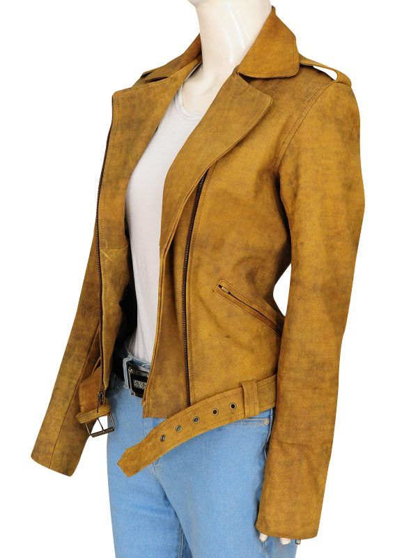 distressed brown women jacket, women brown leather jacket,