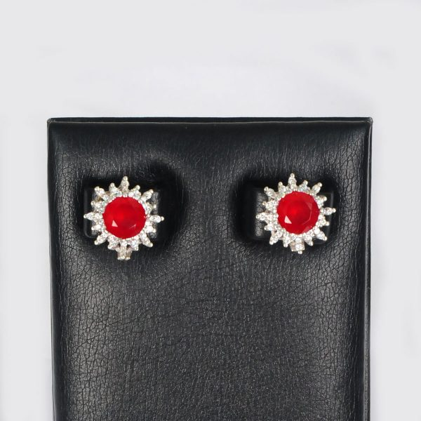 sterling silver with red earring, pure silver women earring,
