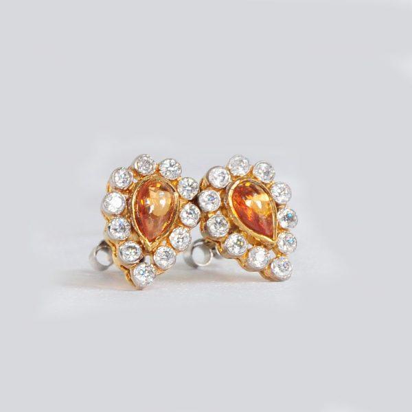 trending women earrings, orange sterling silver earrings,