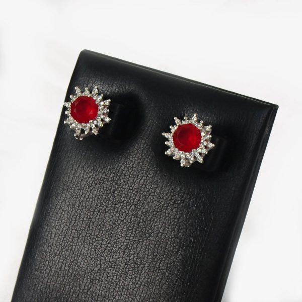 sterling silver women earring, red stone women earring,