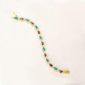 blue and purple stone women bracelet, blue stone gold bracelet,