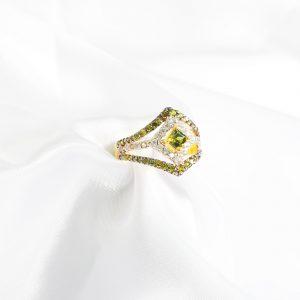 stylish designer green ring, silver women ring,