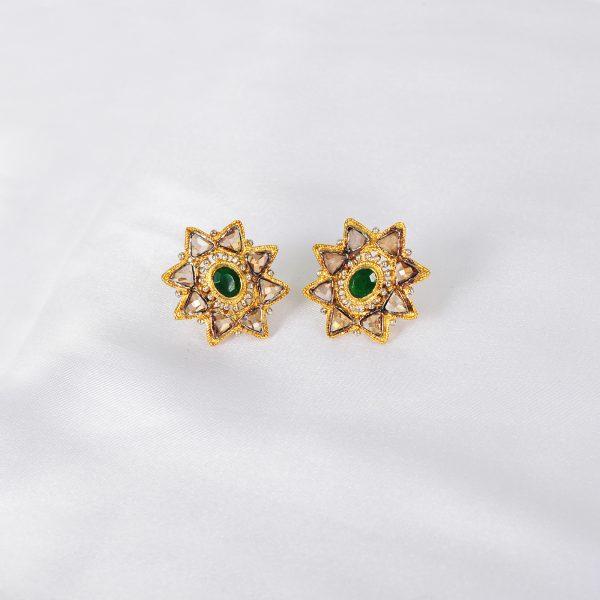 women green gem earring, green gem women earring,