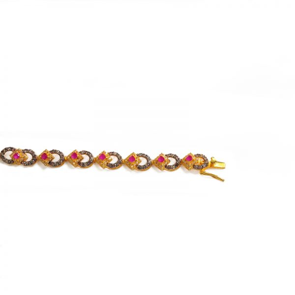 women red stone bracelet, attractive red and gold bracelet,