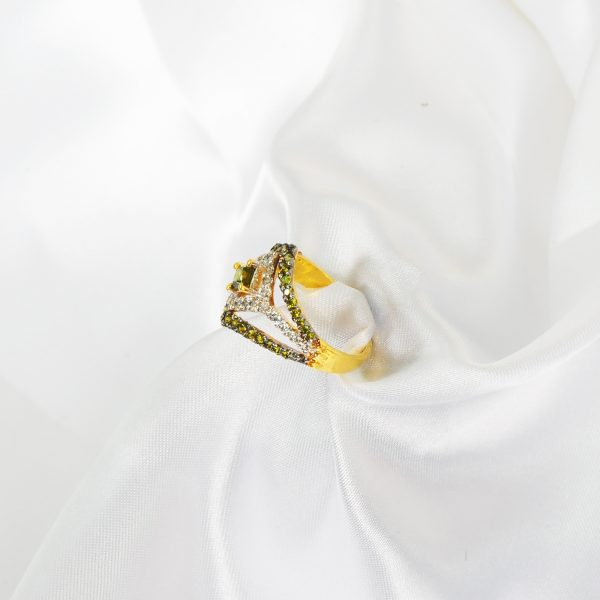 sterling silver green ring, green emerald women ring,