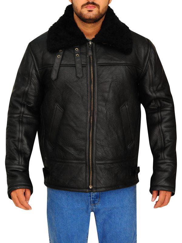 faux fur collar jacket for men, men sheepskin faux fur collar jacket,