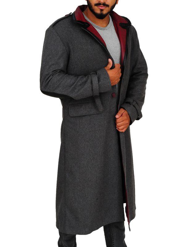 charcoal long coat, gamers long coat