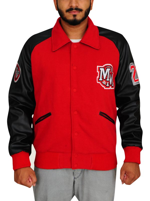 red varsity jacket, black varsity