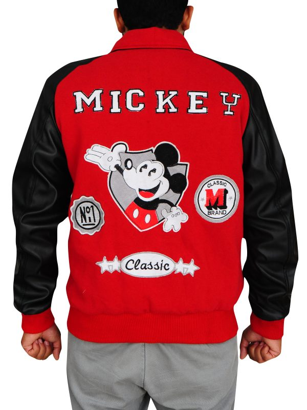 mickey mouse jacket, red and black jacket