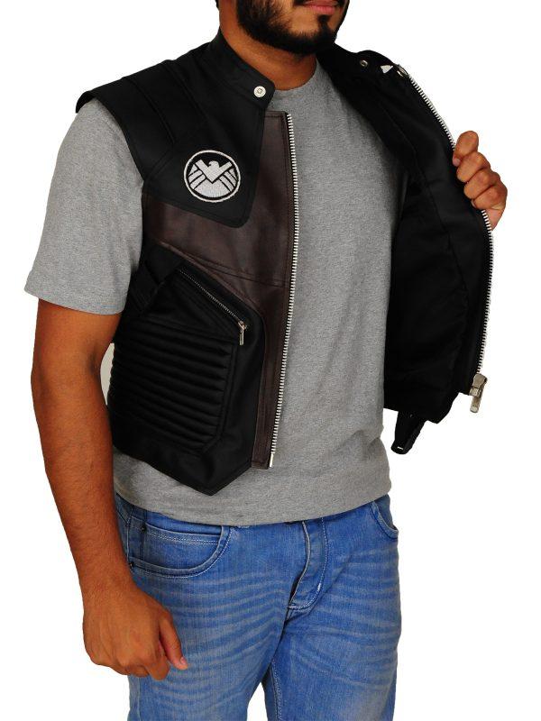 hawkeye black leather vest, black leather vest,