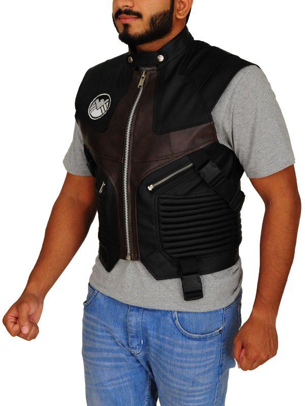 black leather vest for men, hawkeye avenger vest,