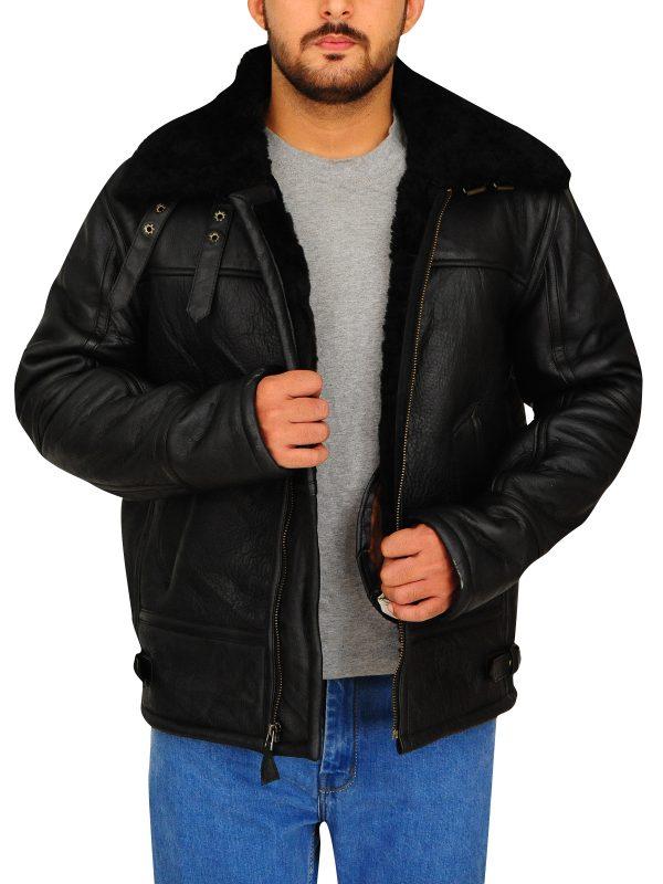 b3 bomber sheepskin jacket for men, sheepskin leather jacket for men,