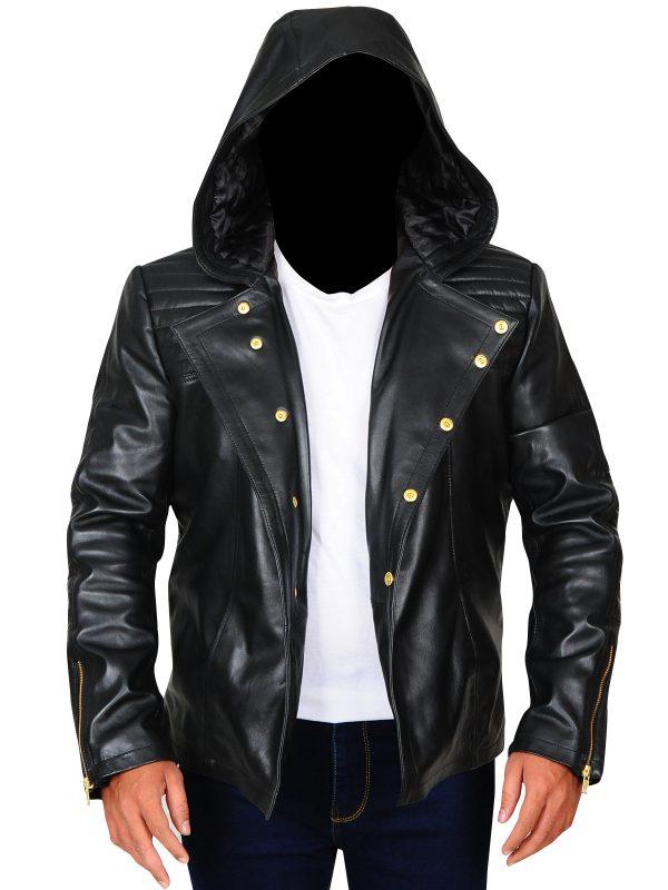trending black men hoodie jacket, black leather jacket for men,