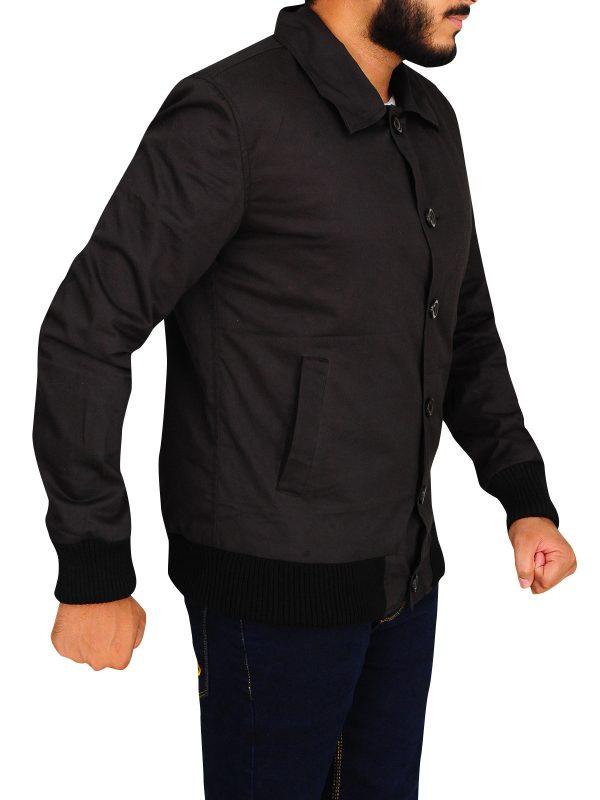 black rib knitted cotton ajcket, black cotton jacket for men,