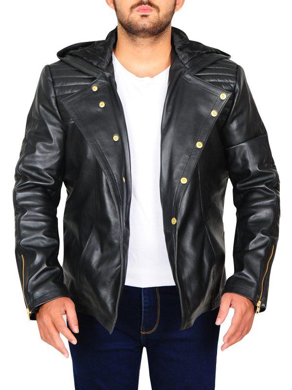 cool hoodie leather jacket, hoodie leather jacket for men,