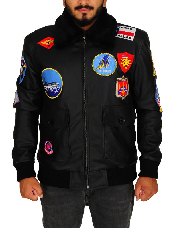 top gun black leather jacket, top gun classic black jacket,