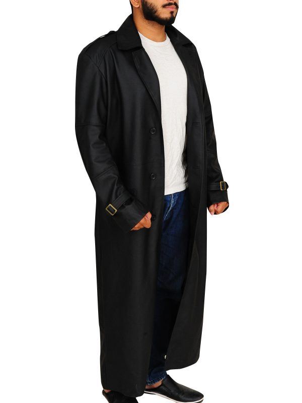 leather trench coat for men, men black coat,