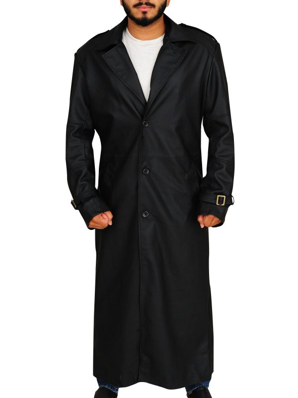 lapel collar trench coat, leather trench coat for men,