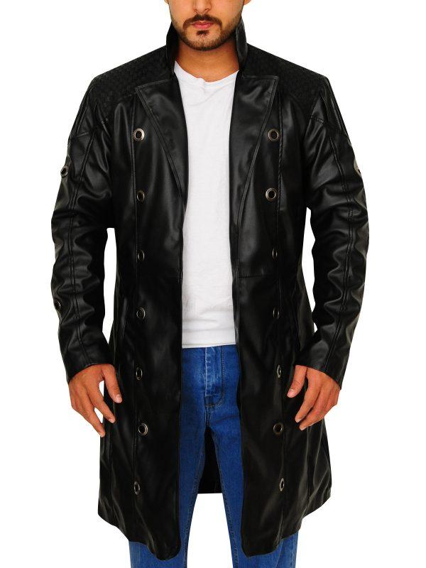 black trench coat for men, black leather trench coat men,