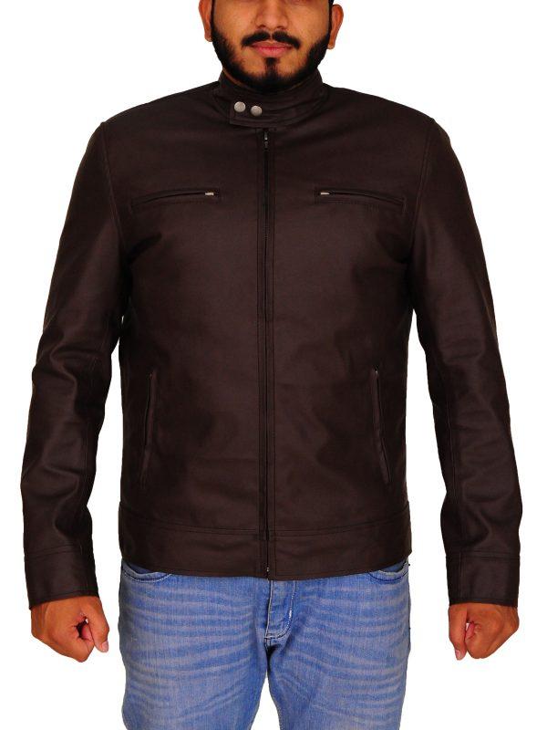 winter faux leather jacket, men brown leather jacket,