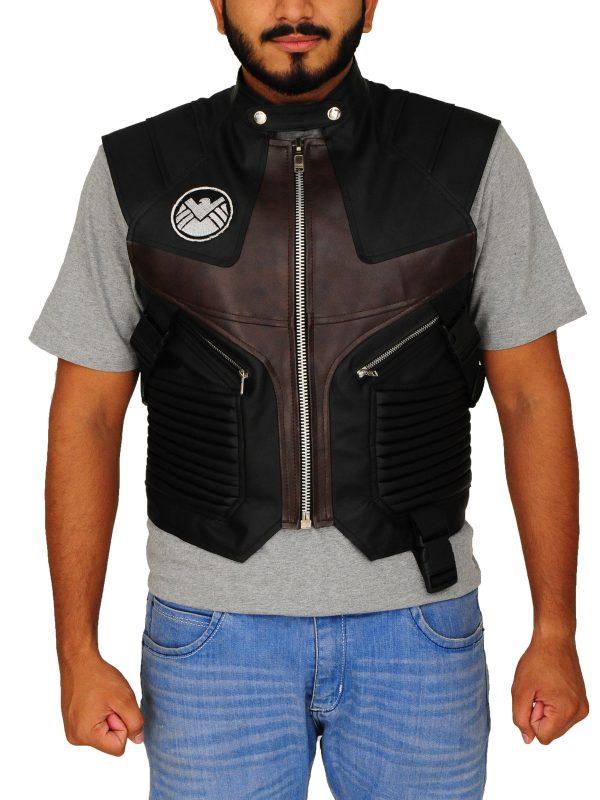 jeremy black leather vest, jeremy renner avengers leather vest,