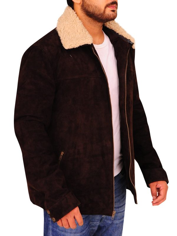 faux fur brown leather jacket, suede leather with faux fur collar,