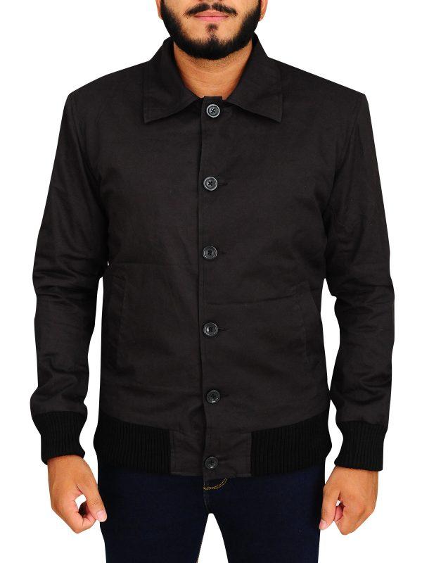 men stylish cotton jacket, black men jacket,