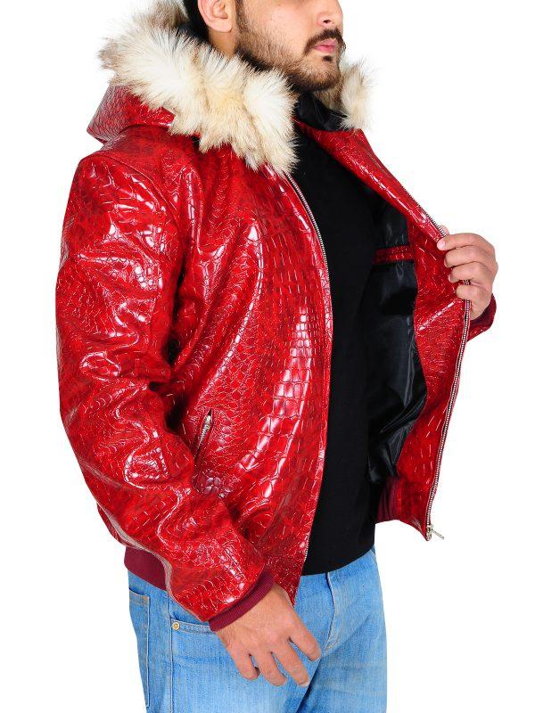 trending red men leather jacket, crocodile skin jacket for men,