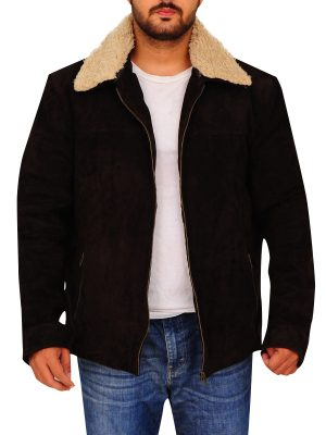 men brown suede jacket, suede leather brown jacket for men,