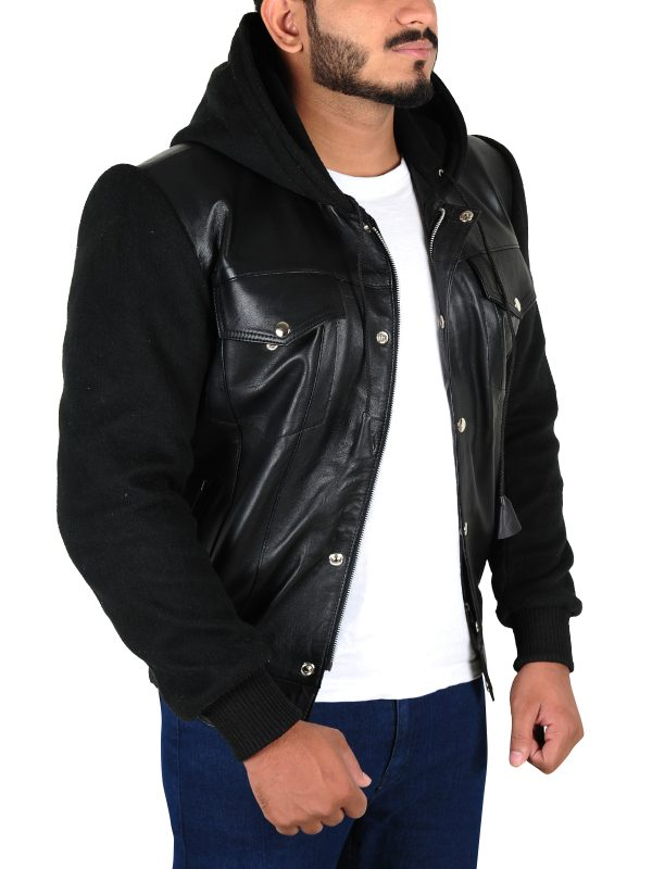 black casual leather jacket, men casual leather jacket,