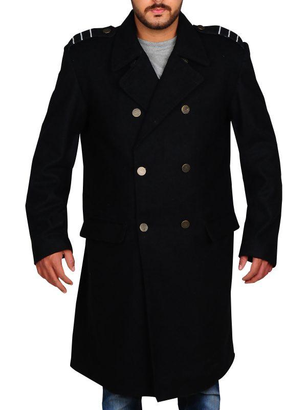 doctor who black long coat, black wool men long coat,