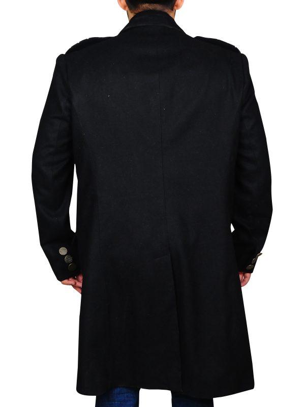 black long coat for men, wool long coat men,