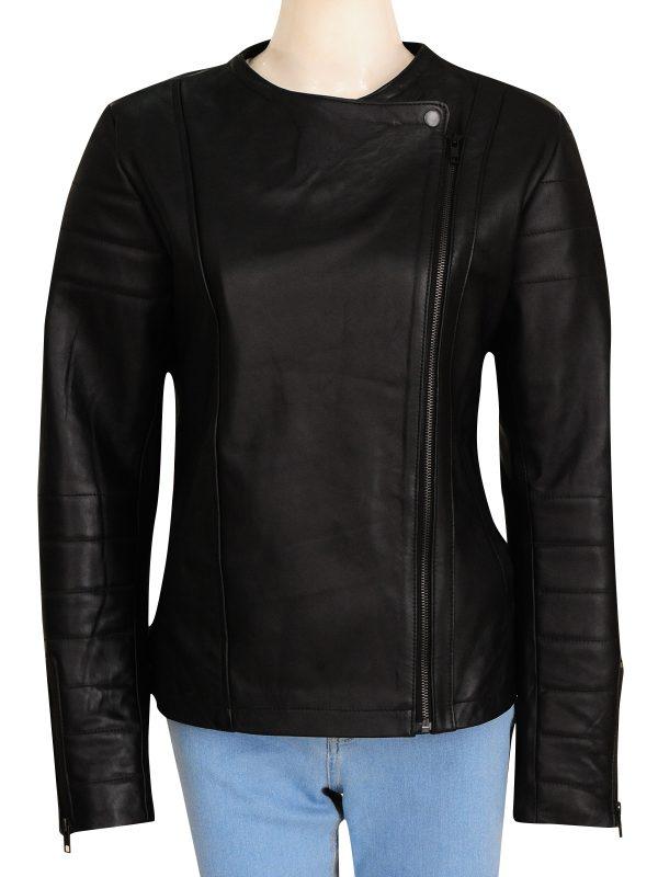 black biker leather jacket for women, women slim fit black jacket,