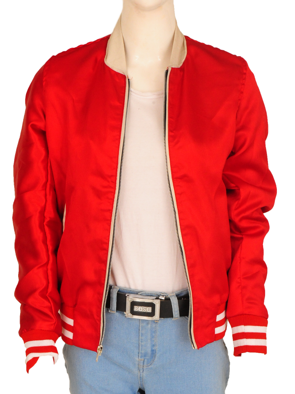 red satin jacket, hollywood celebrity jacket,