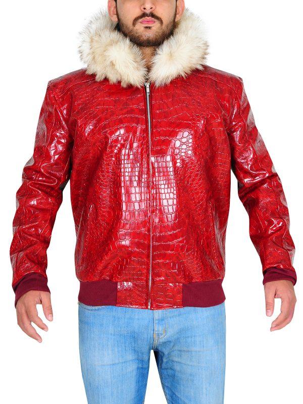 red snake skin jacket for men, red crocodile skin jacket for men,