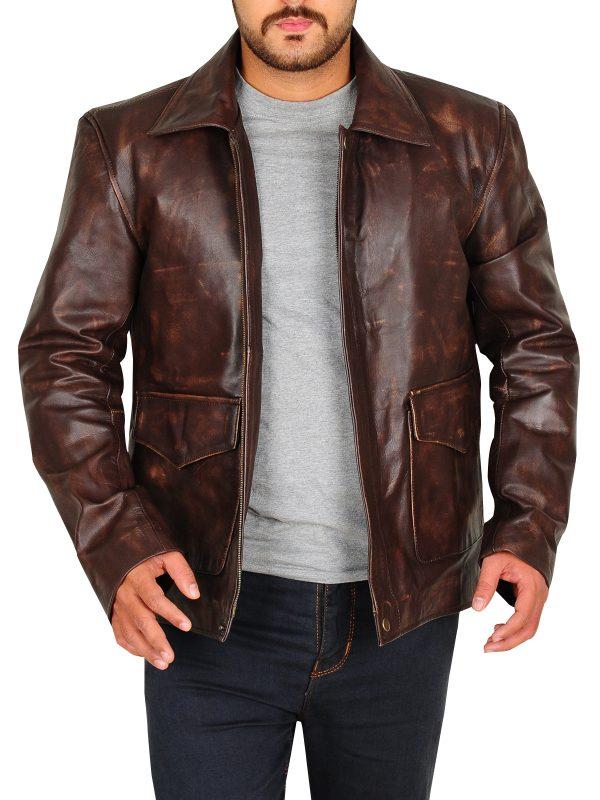 distressed brown men leather jacket, the last crusade indiana jones jacket,