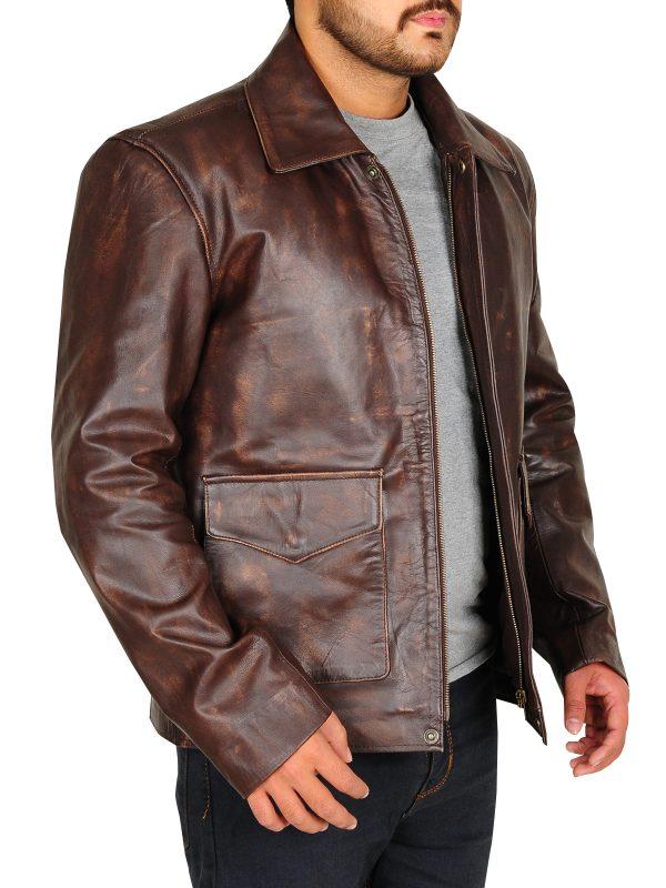 indiana jones distressed jacket, indiana jones brown leather jacket,