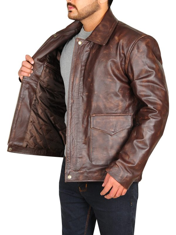 classic distressed brown jacket, distressed brown leather jacket for men,
