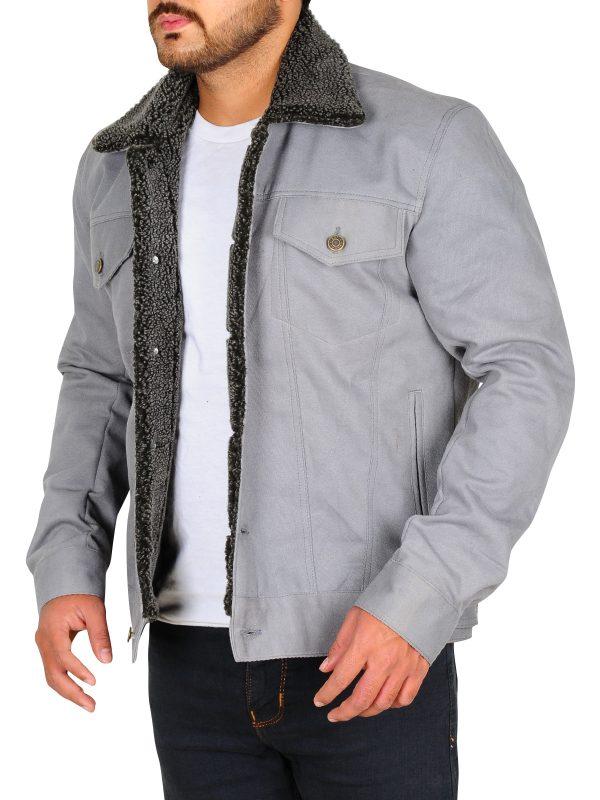 riverdale grey fux fur jacket, riverdale men grey denim jacket,